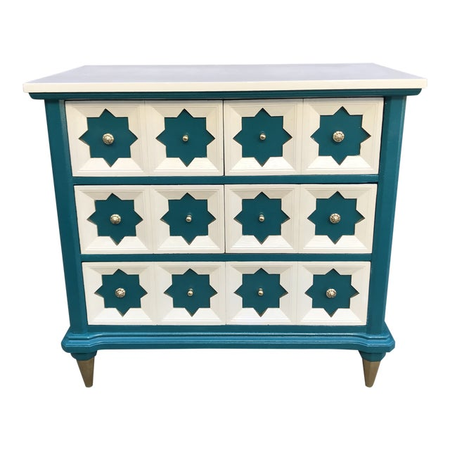 Moroccan Star MCM Painted Chest For Sale