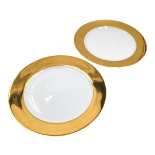 Porcelain Chargers Plates Serving Platter Set of 2 Pair Gold Wide Edge For Sale