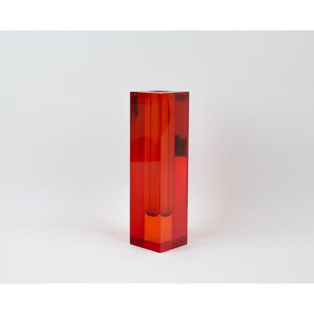 Lucite Red Orange Rectangular Lucite Bud Vase For Sale - Image 7 of 12