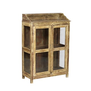 Rustic High Two-Door Teak and Glass Yellow Cabinet For Sale