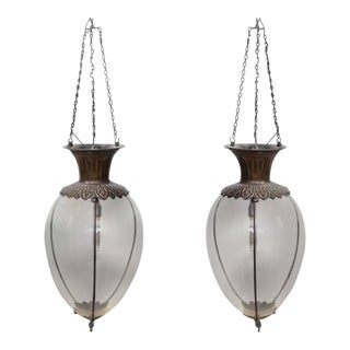 Antique Drugstore Glass & Bronze Globe Lights - A Pair