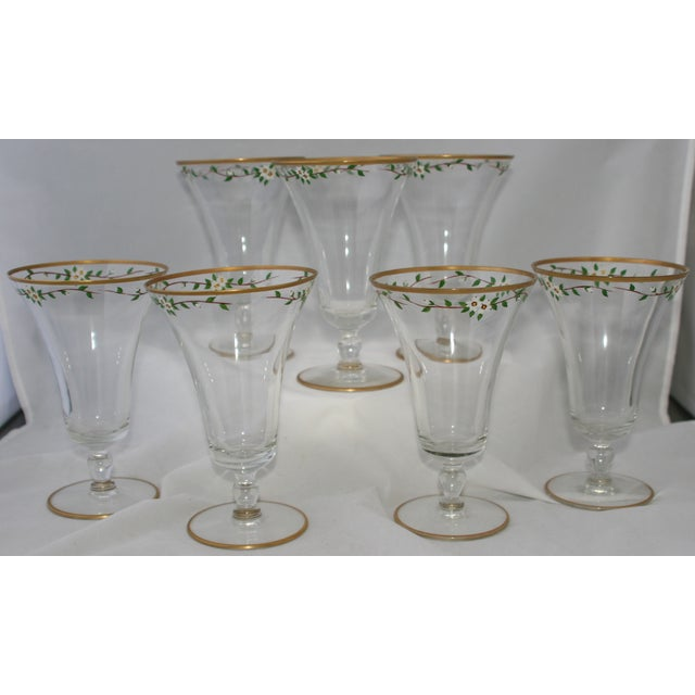 Vintage Hand Painted Footed Water Glasses - S/7 - Image 2 of 4