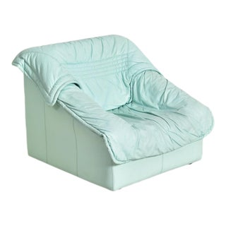 "1980's Vintage Imbottiti Italian Mint Green Leather ""Wilma"" Lounge Chair For Sale"