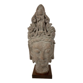 1960s Vintage Austin Productions Guan Yin Buddha Goddess Stone Bust For Sale