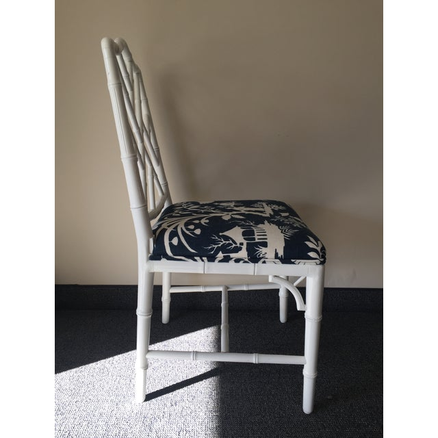 Chippendale White Bamboo Chairs - Set of 4 - Image 4 of 8