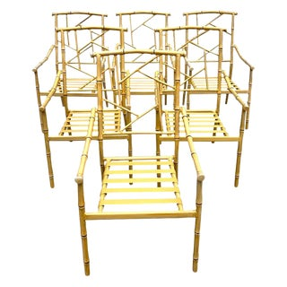 Set of Six Hollywood Regency Faux Bamboo Garden Chairs For Sale