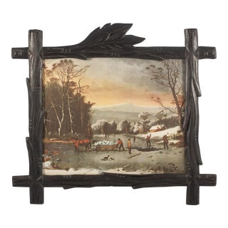 Black Forest Style Frame With Vintage Ice Harvest Print