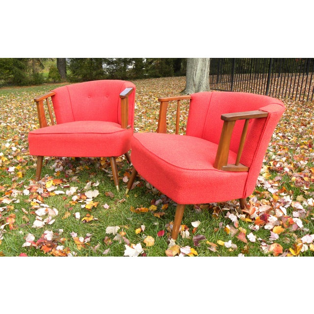 Mid-Century Lounge Chairs in Red - A Pair - Image 6 of 7