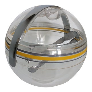 Mid-Century Modern Lucite Guzzini Zippy Double Wall Ice Bucket and Tongs For Sale