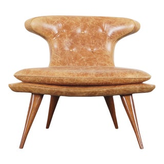 """1960s Vintage Leather """"Horn"""" Chair For Sale"""