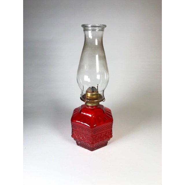 Antique Eagle Red Glass Hurricane Oil Lamp For Sale In Atlanta - Image 6 of 6