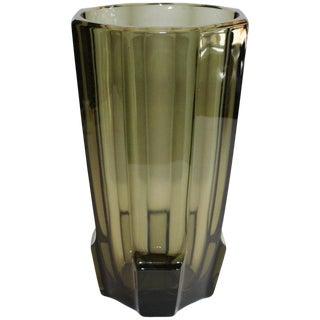Art Deco Faceted Black Glass Vase For Sale