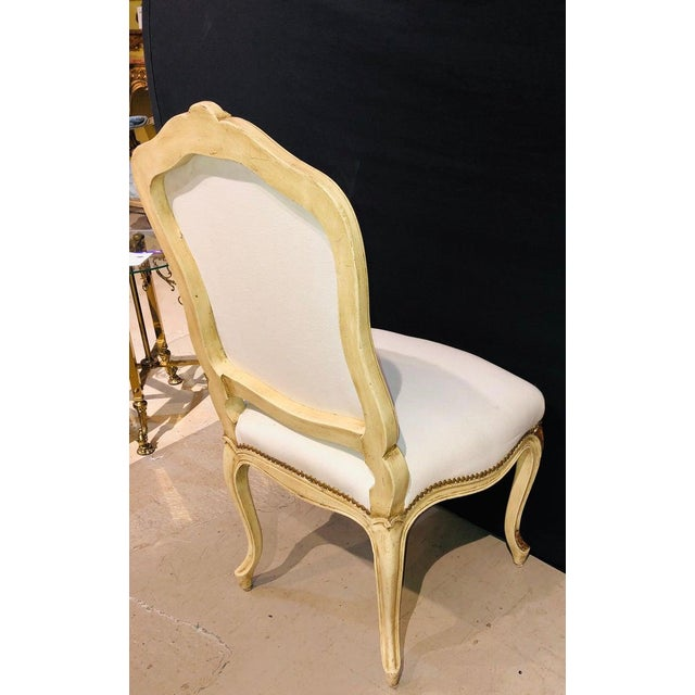 Mid 20th Century Labeled Jansen Fine Pair of Oversized Side or Desk Chairs in Parcel Gilt Paint For Sale - Image 5 of 13