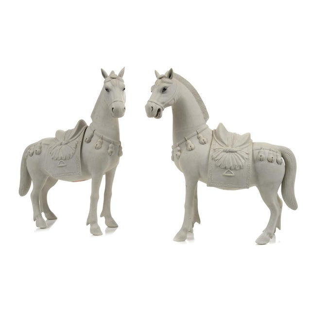 """Chinese Rare Bisque Porcelain Horse Figurines - A pair c.1920s. Size 9 x 10"""". A beautiful piece that will add to your décor!"""
