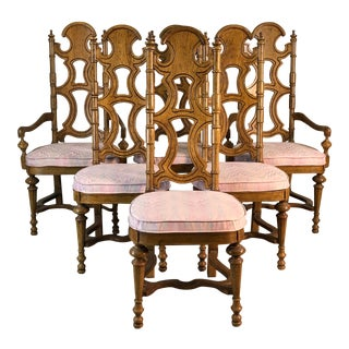 Drexel Furniture Co High Back Dining Chairs, Set of 6 For Sale
