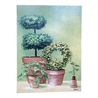 1970s Topiary Still Life Painting by Lee Reynolds For Sale