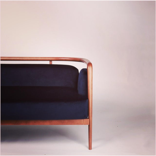 Not Yet Made - Made To Order Contemporary Midcentury Modern Walnut Sofa For Sale - Image 5 of 6