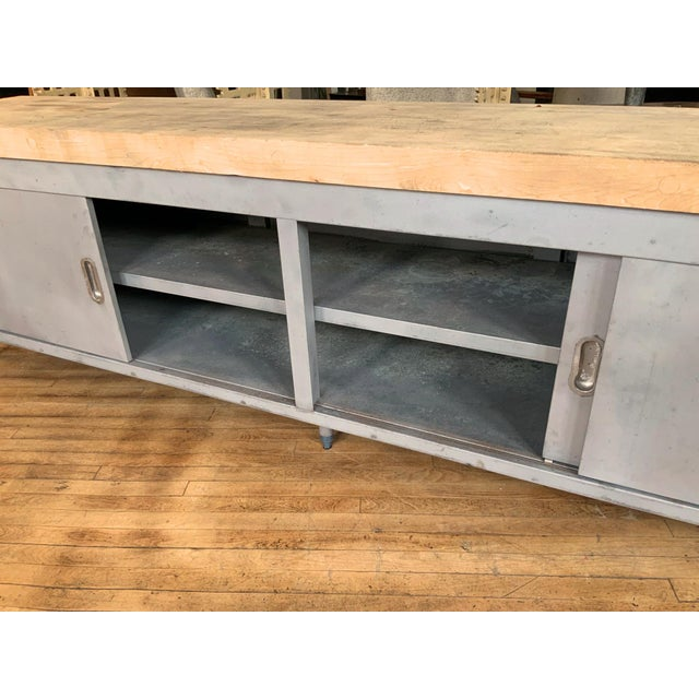 Vintage Industrial Steel Cabinet With Butcher Block Top For Sale - Image 9 of 10