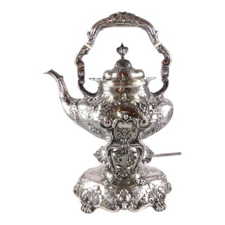 Vintage Reed & Barton Francis I Repousse' Sterling Silver Kettle With Stand and Burner For Sale