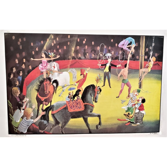 Mid-Century French Double Sided School Poster-Circus, Boy's Room For Sale - Image 9 of 9