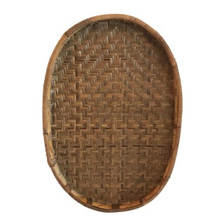 20th Century Boho Chic Wicker Oval Wall Basket For Sale
