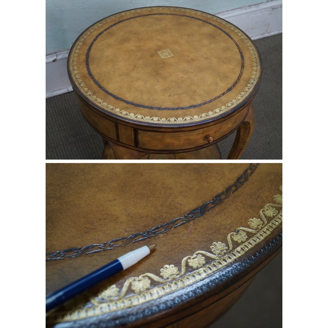 Maitland Smith Tooled Leather 1 Drawer Side Table For Sale - Image 9 of 10
