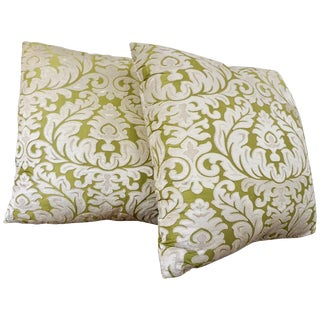Contemporary French Green and Ivory White Damask Velvet Throw Pillows - a Pair For Sale