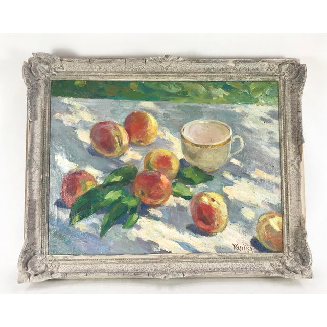 20th Century Impressionistic Oil Painting of Peaches on Table For Sale - Image 10 of 10