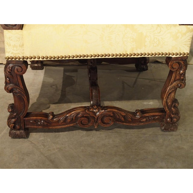 French Circa 1890 Antique French Walnut Wood Armchair For Sale - Image 3 of 11