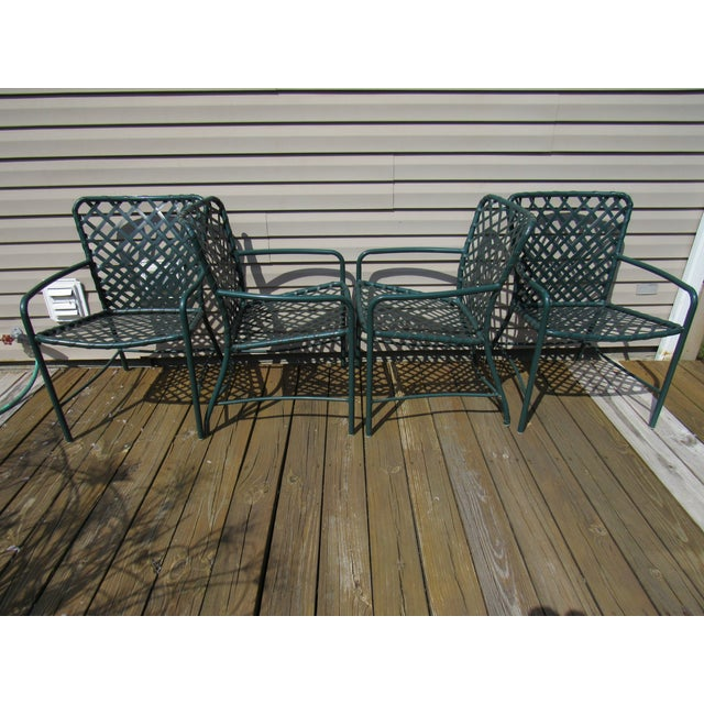 Aluminum Vintage Brown Jordan Mid-Century Green Tamiami Outdoor Chairs - Set of 4 For Sale - Image 7 of 7