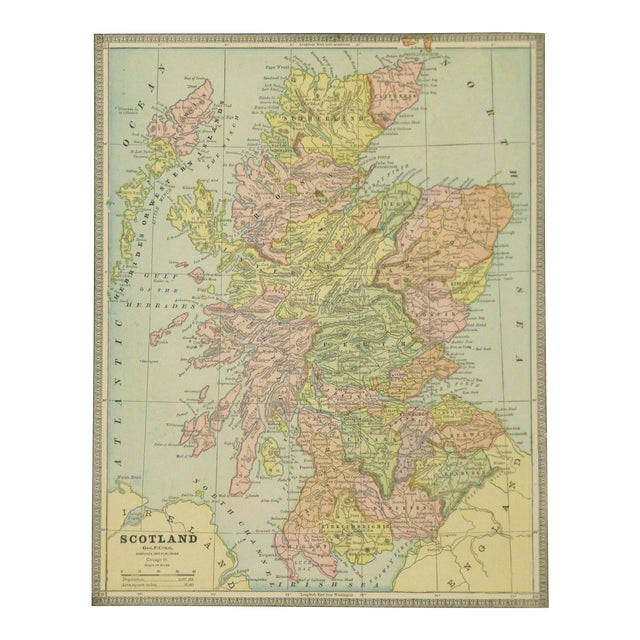 Vintage Map of Scotland, 1890 For Sale