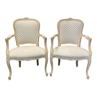 French Bergere Shabby Chic Arm Chairs - a Pair For Sale