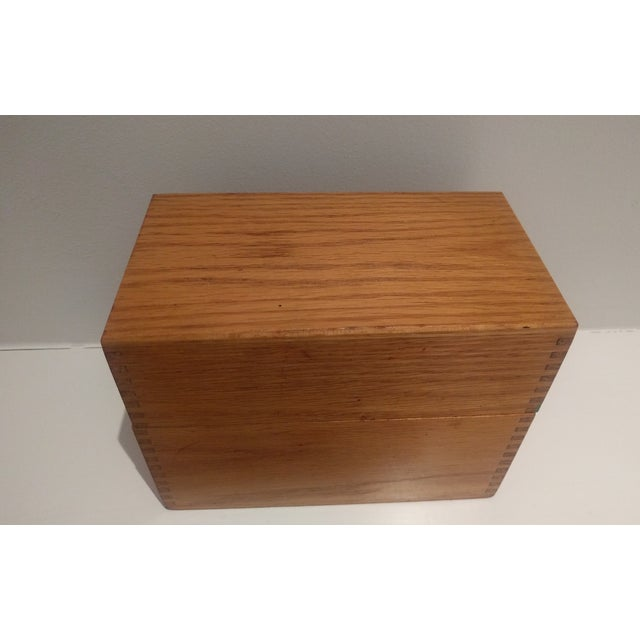 Vintage Golden Oak Wooden Index Box - Image 3 of 7