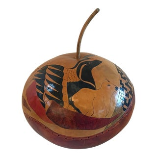 Vintage Hand Painted Gourd Bread Server For Sale
