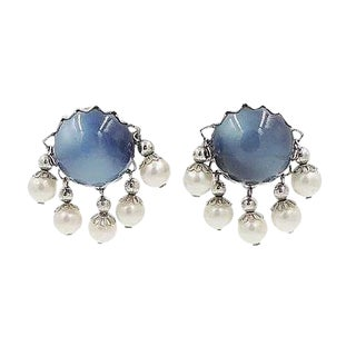 1950s Napier Blue Moonglow Faux-Pearl Earrings For Sale