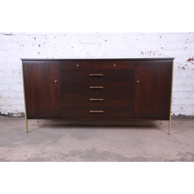 Paul McCobb for Calvin Mahogany and Brass Sideboard Credenza For Sale - Image 13 of 13