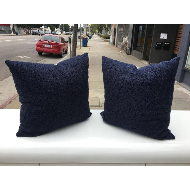 "Brand new custom 20"" x 20"" pillows with designer Navy Blue Curly Boucle on the fronts and light cream velvet on the back...."