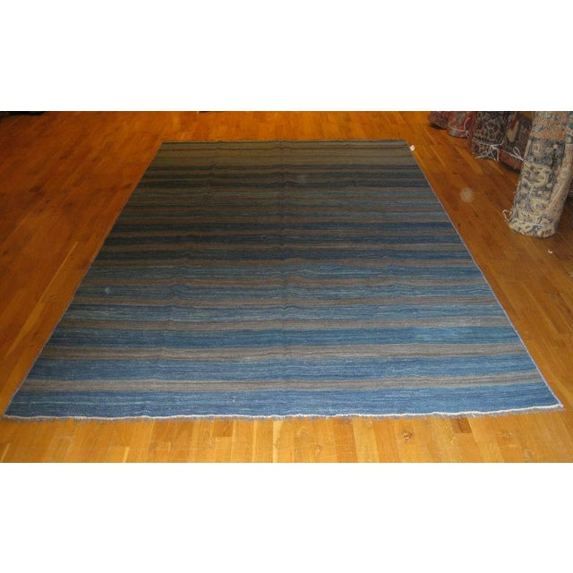 Contemporary Blue Striped Kilim Rug - 6′1″ × 9′11″ For Sale - Image 3 of 3