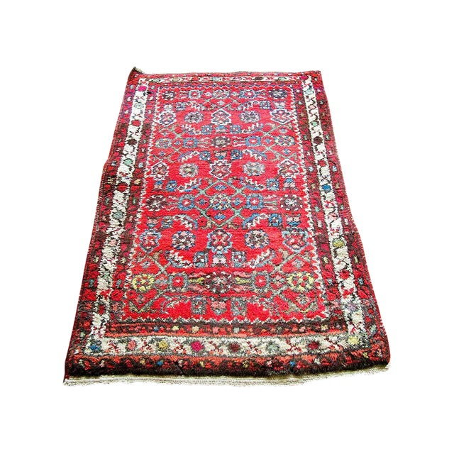 """Red Boho Chic Persian Rug - 1'11"""" X 3' - Image 1 of 7"""