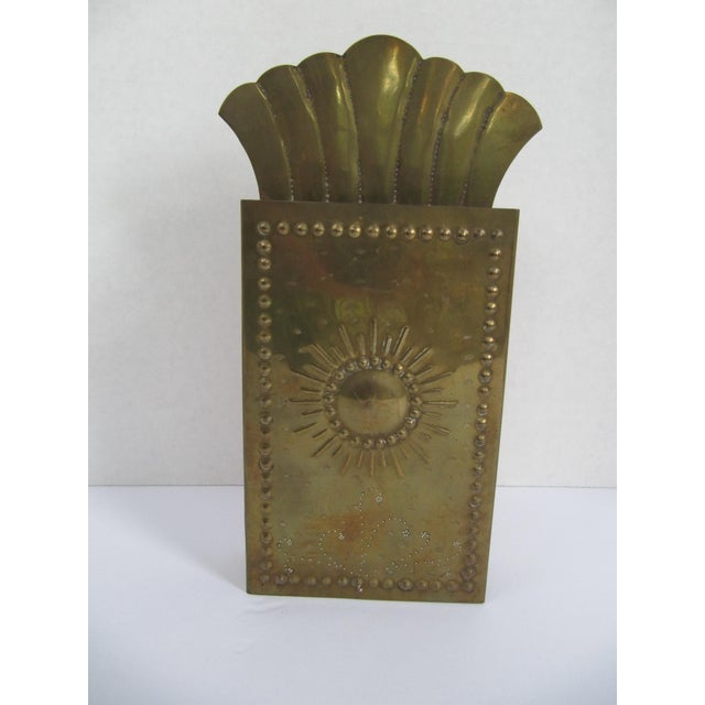 Beautiful vintage brass starburst matchstick holder, with open sides to access the strikers. This holder actually holds...