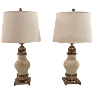 Pair of Mid Century Ceramic and Brass Table Lamps, by Stiffel For Sale