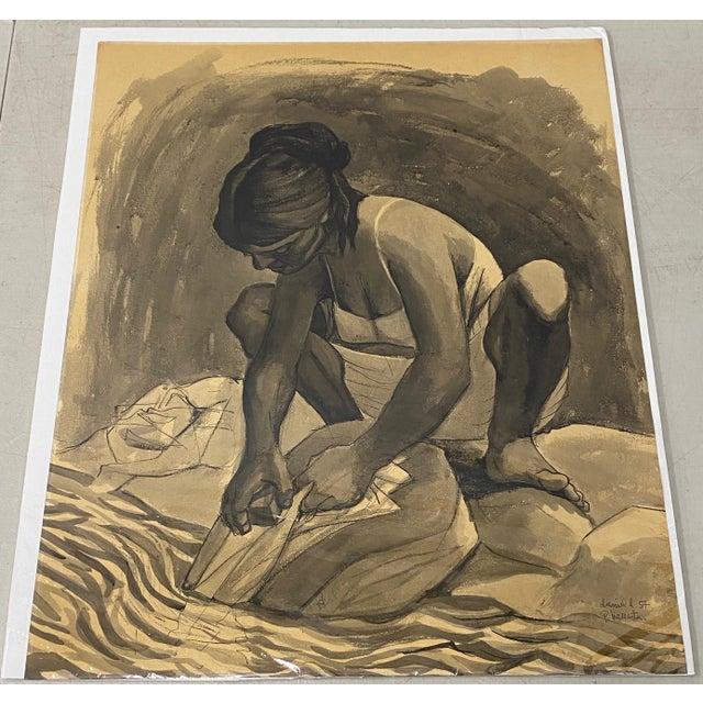 "Mid Century Modern Watercolor ""Washing Clothes"" Puerto Vallarta by Daniel c.1957 A brilliant mid century watercolor of a..."