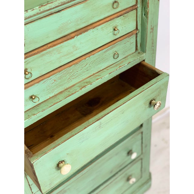 19th Century Spanish Green Pharmacy Cabinet For Sale - Image 10 of 12