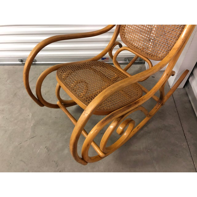 Tan 19th Century Thonet Bentwood & Cane Wood Rocker Rocking Chair For Sale - Image 8 of 13