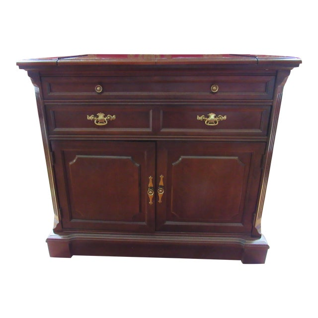 Vintage Bassett Flip Top Cherry Server Bar Cabinet For Sale
