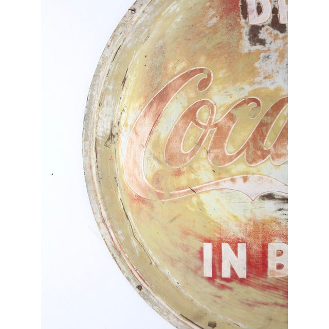 Mid 20th Century Vintage Coca-Cola Button Sign For Sale - Image 5 of 9