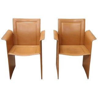 Italian Design Korium Leather Pair of Armchairs by Tito Agnoli for Matteo Grassi For Sale
