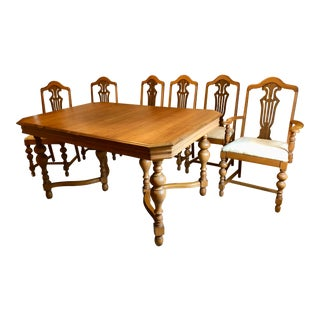 1970s Mid-Century Walnut Dining Table - 7 Pieces For Sale