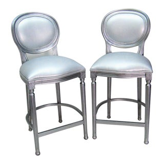 1980s Vintage Silver Beechwood Barstools With Metallic Faux Leather Seats- A Pair For Sale