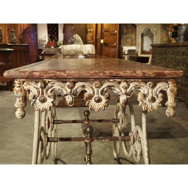Fantastic 19th Century Iron and Bronze French Butchers Display Table With Rosso Verona Marble Top For Sale - Image 9 of 13